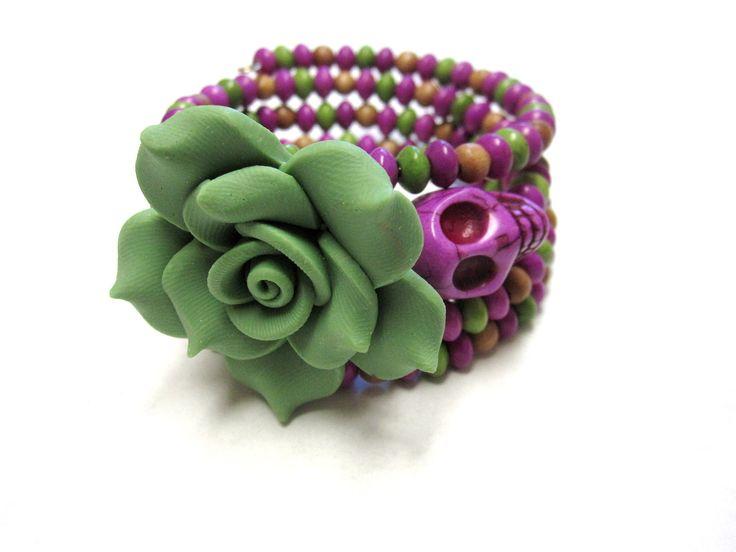 Day Of The Dead Bracelet Sugar Skull Jewelry by sweetie2sweetie