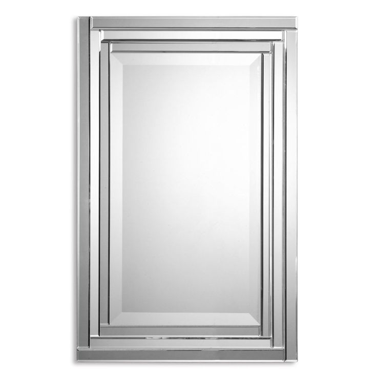Add an extra bit of spice to your bathroom or living space with this stylish frameless wall mirror. This unique design features a series of stepped, bevel mirrors with polished edges and it looks great hung either horizontally or vertically.