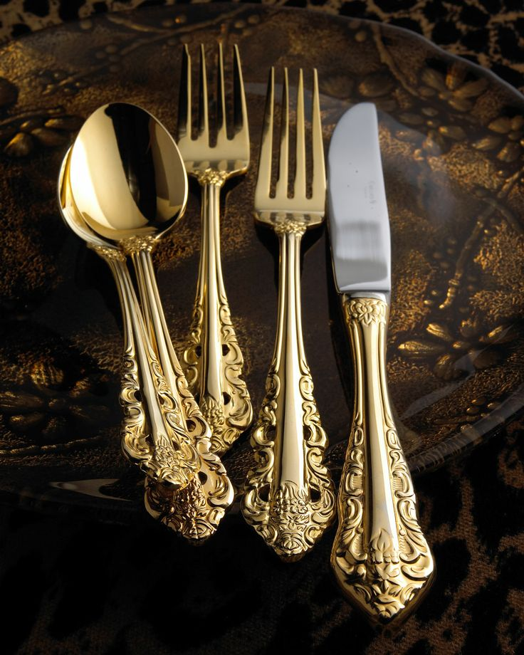 "80-Piece Gold-Plated ""Antique Baroque"" Flatware - Horchow"