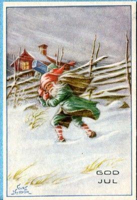 X7575 Swedish Miniature postcard,God Jul