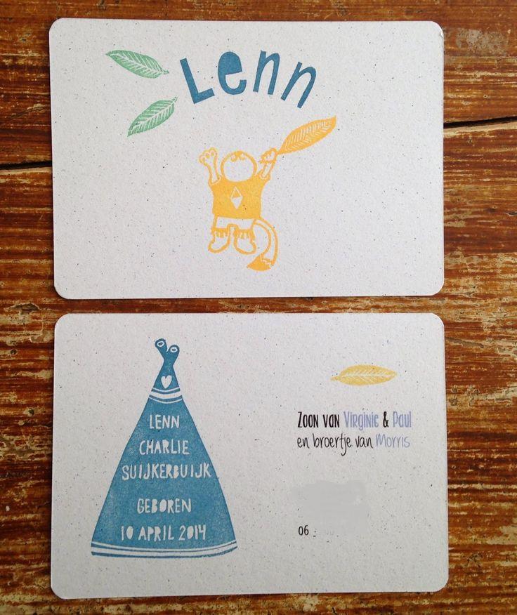 Handstamped card for babyboy Lenn www.salutstefanie.blogspot.nl