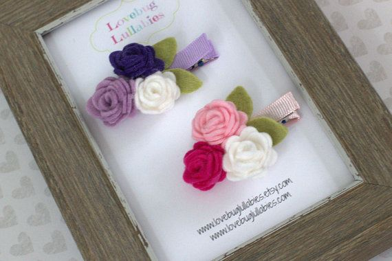 Felt Flower Trio SET OF 2 Hair Clips or Headbands for Baby, Newborn, Toddler, Child, Adult- Baby Gift, Photography Prop