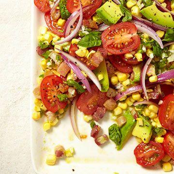 Tomato, Corn and Avocado Salad with Spicy Vinaigrette #recipe