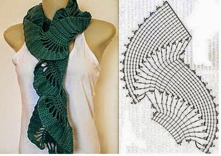 68 best uncinetto: sciarpe e stole images on Pinterest | Pañuelos de ...