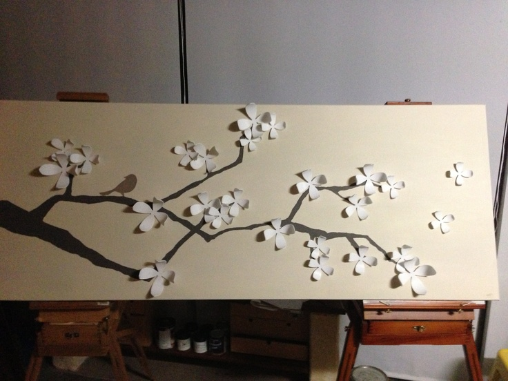 Umbra wall flowers on canvas painted as cherry blossom branch for my sister