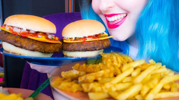 asmr cheeseburgers  fries mcdonaldsstyle 10k subs