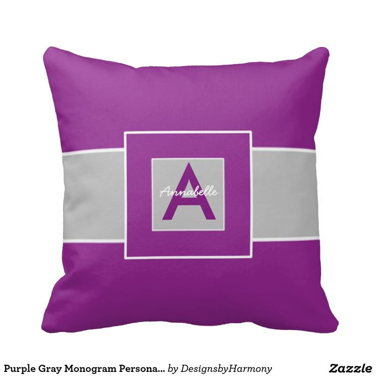 Purple And Gray Decorative Pillows : Purple Gray Monogram Personalized Throw Pillow Personalized pillows, Monograms and Purple