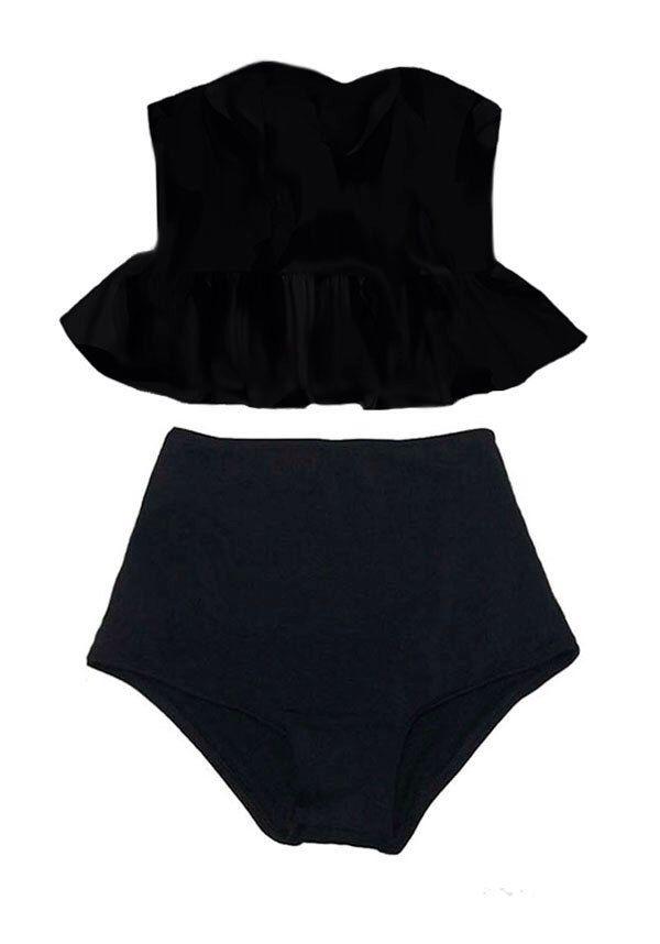 Black Long Top and Black High waisted waist Bottom Bikini Two piece Two-piece set Swimsuit Swimwear Swim Bathing suit dress wear suits S M L by venderstore on Etsy https://www.etsy.com/listing/217939704/black-long-top-and-black-high-waisted