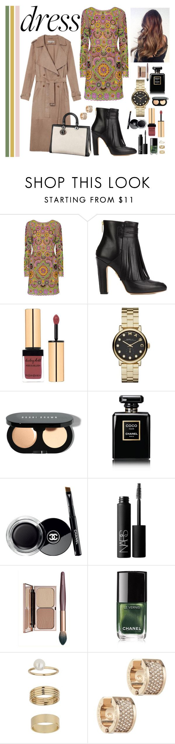 """""""Party On: Long Sleeve Dress"""" by mundstock ❤ liked on Polyvore featuring Emilio Pucci, Maiyet, Yves Saint Laurent, Marc by Marc Jacobs, Bobbi Brown Cosmetics, Chanel, NARS Cosmetics, Miss Selfridge, Christian Dior and Michael Kors"""