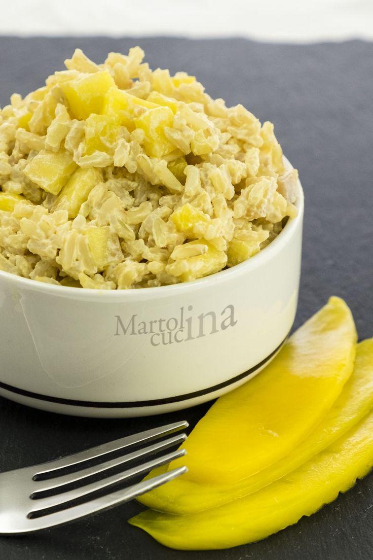 Riso+con+crema+di+salmone+e+mango,+ricetta+primo+facile