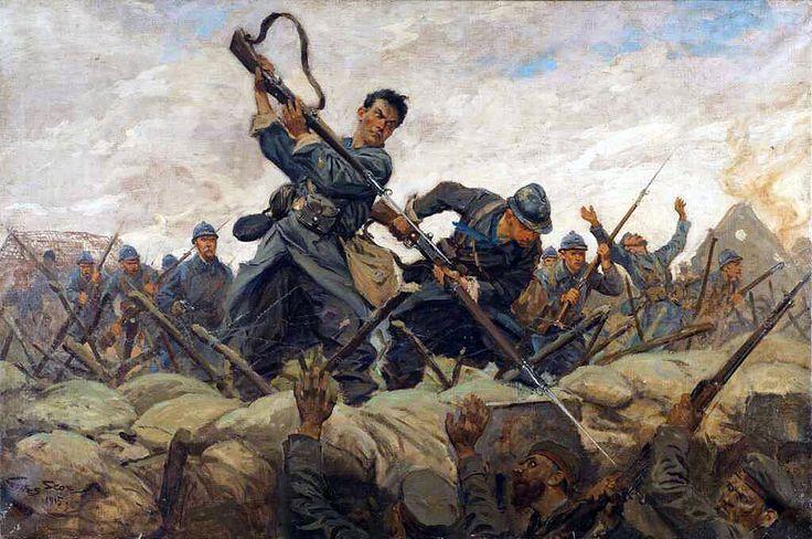 Bayonet attack. Artist Georges Scott