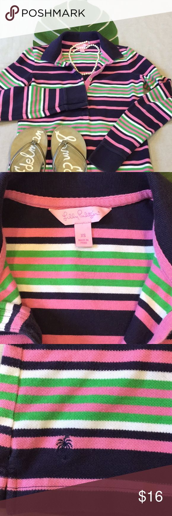 🌸👕Lilly Pulitzer Long Sleeve Polo Stripe XS 👕🌸 🍃🌷Lily Pulitzer striped, long sleeved, polo shirt, XS.  Cotton pique, blue, green, pink and white stripes. Slight fading, overall in very good shape, lots of life left in her. 🌷🍃 please review measurements in case of shrinkage  994 Chest 16.5 Sleeve 25 from shoulder seam to cuff  Length 24 Shoulder 13.5 Lilly Pulitzer Tops Button Down Shirts