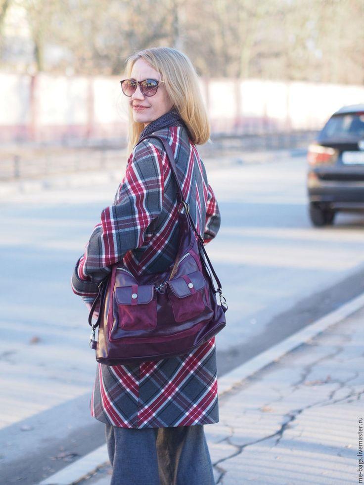 Купить Massandra. Бордовая кожаная сумка-рюкзак . - бордовый, однотонный, бордовая сумка, бордовый рюкзак