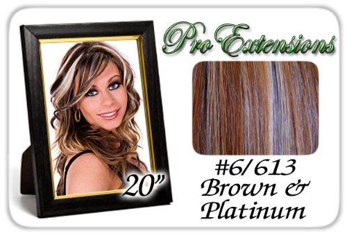 """20"""" Inch Body Wave #6/613 Brown W/ Platinum Highlights Pro Extensions Premier Human Hair Extensions by ProExtensions. $89.99. Beautiful Hair In Seconds. Body Wave.. 20"""" x 39"""" clip in hair extensions.. 100% human hair. No synthetic material.. Increase length and fullness.. Clips on to existing hair.. This Pro Extensions clip in hair extension set is Colored #6/613 Brown w/ Platinum Highlights. Pro Extensions are 100% human hair extensions. This set of hair extensions ..."""