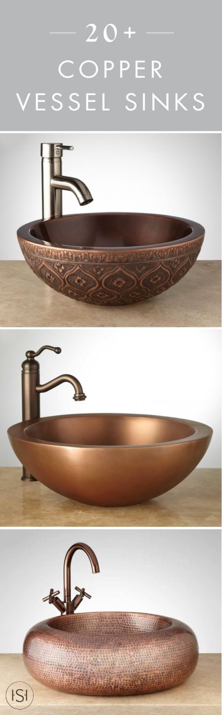 Style and shine go hand-in-hand with these 20+ Copper Vessel Sinks. With ornate decorations, a textured hammered finish, and so much more, Signature Hardware has a vast selection of sinks to choose for your guest or master bathroom.