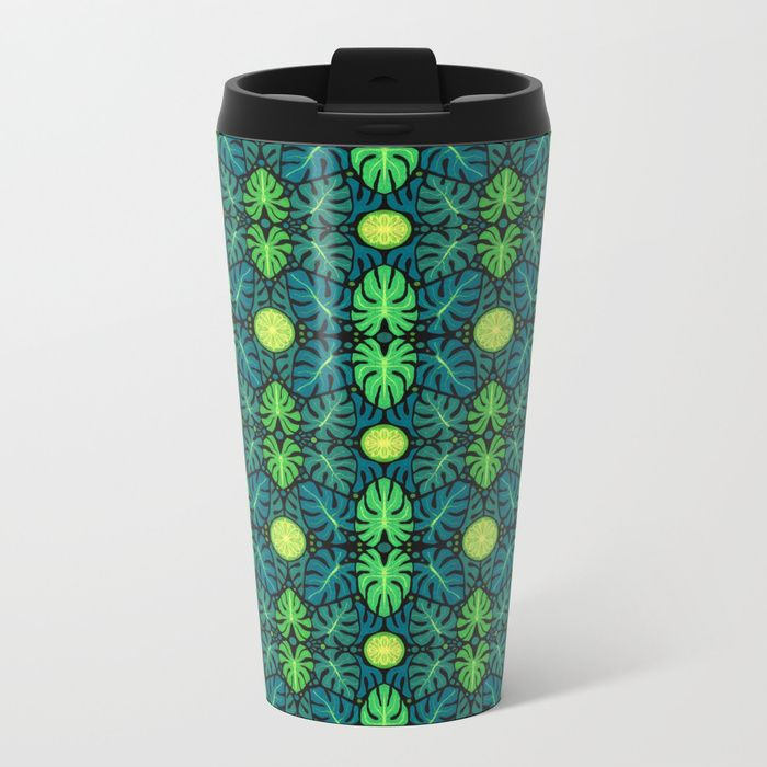 Buy Monstera leaves, floral pattern, black, green & turquoise Metal Travel Mug by clipsocallipso. Worldwide shipping available at Society6.com. Just one of millions of high quality products available.