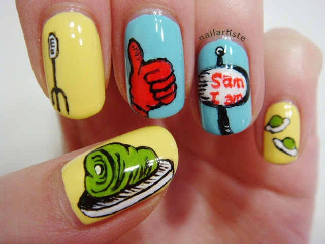 Dr. Seuss ~ The Nail Artiste: Green Eggs and Ham Nail Art