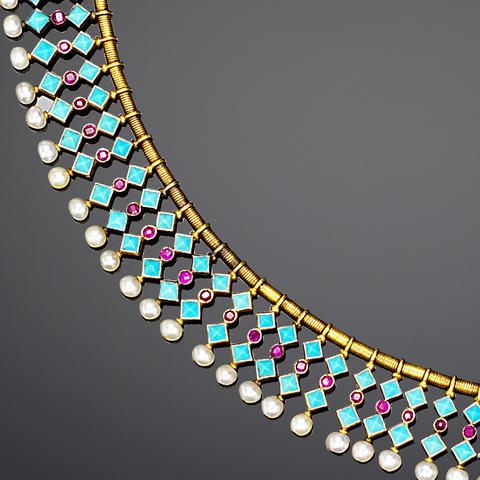 A turquoise, pearl and ruby fringe necklace and earring suite, by Carlo Giuliano,