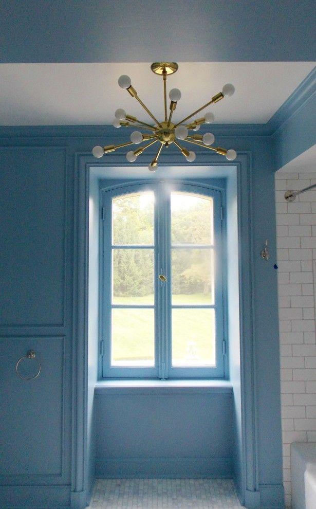 What a cool boy's bathroom - paint is F&B Lulworth blue