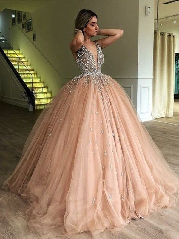 Ball Gown V-neck Sleeveless Sweep/Brush Train Beading Tulle Dress
