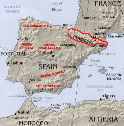 The Pyrenees Mountains form the natural border between France and Spain, and completely engulf the tiny nation of Andorra. The highest point is Pico de Aneto at 11,168 ft. (3,404m)....