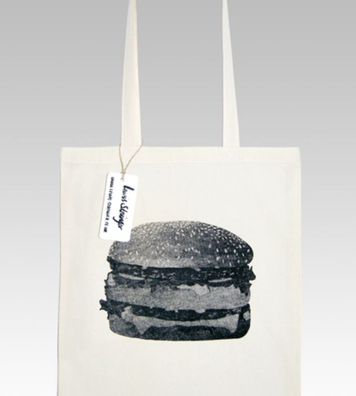 """Burger tote bag with sticker in a clam shell burger box. Printed on both sides of the bag. Digital printed 2"""" x 3"""" sticker. Hand screen printed so each bag may be different from the 1 pictured. You can buy this tote bag at www.artrebels.com #artrebels #totebag #art"""