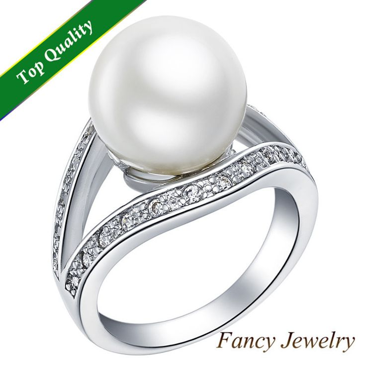 925 Sterling Silver Simulated Plastic Pearl CZ Round Bijou Hand Finger Pave Rhinestone Anel Perola Ring for Woman Mothers J381 $6.07