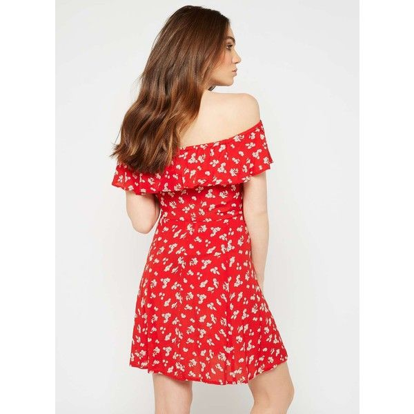 Miss Selfridge Red Floral Print Bardot Skater Dress ($55) ❤ liked on Polyvore featuring dresses, red, loose summer dresses, floral print dress, red dress, skater dress and short loose dresses