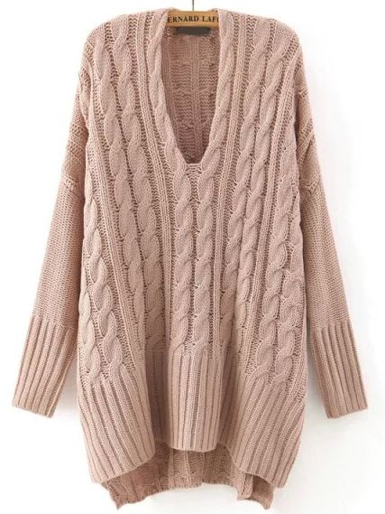 Khaki V Neck Cable Knit Loose Sweater -SheIn(abaday)