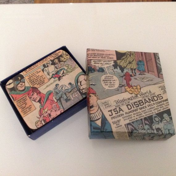 Justice League Comic Coasters Gift Boxed by ComicKamikaze on Etsy