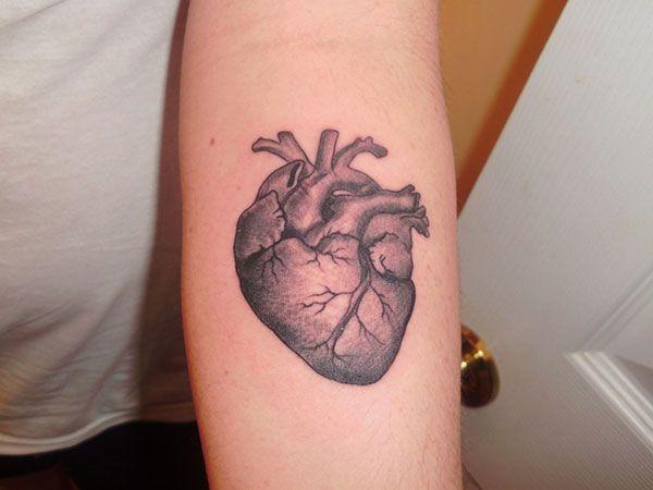 real heart tattoos | forehand heart tattoo 27 Enamoring Heart Tattoos Designs