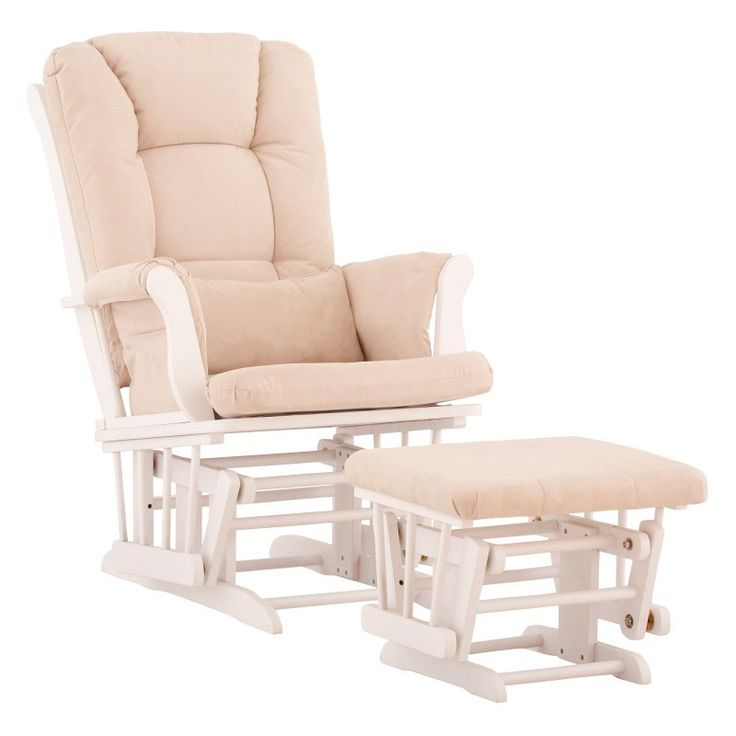 Storkcraft Tuscany Glider and Ottoman with Free Lower Lumbar Pillow - White Finish with Beige Cushions - 06554-511