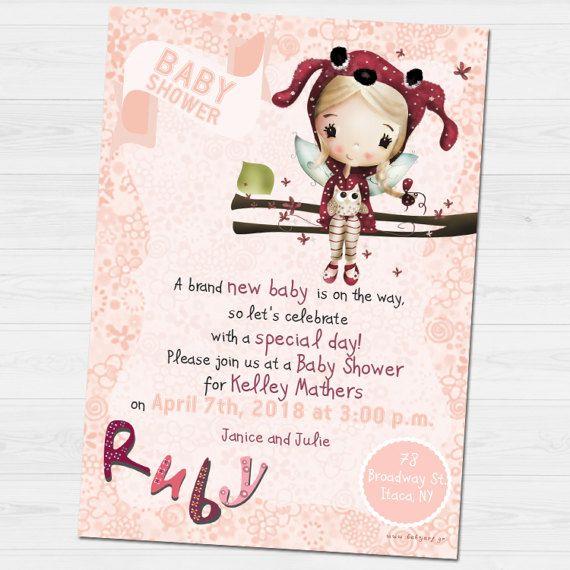 Rubby Shower Party invitation by babyartshop on Etsy