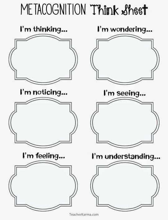 Metacognition Think Sheets to improve reading comprehension. TeacherKarma.com