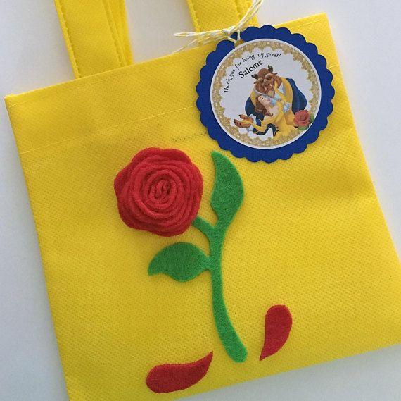 Conjunto de 12 de la belleza y las bestia Favor bolsas con etiquetas personalizada gracias, tema de fiesta de princesa bella, bella y la bestia, princesa Belle