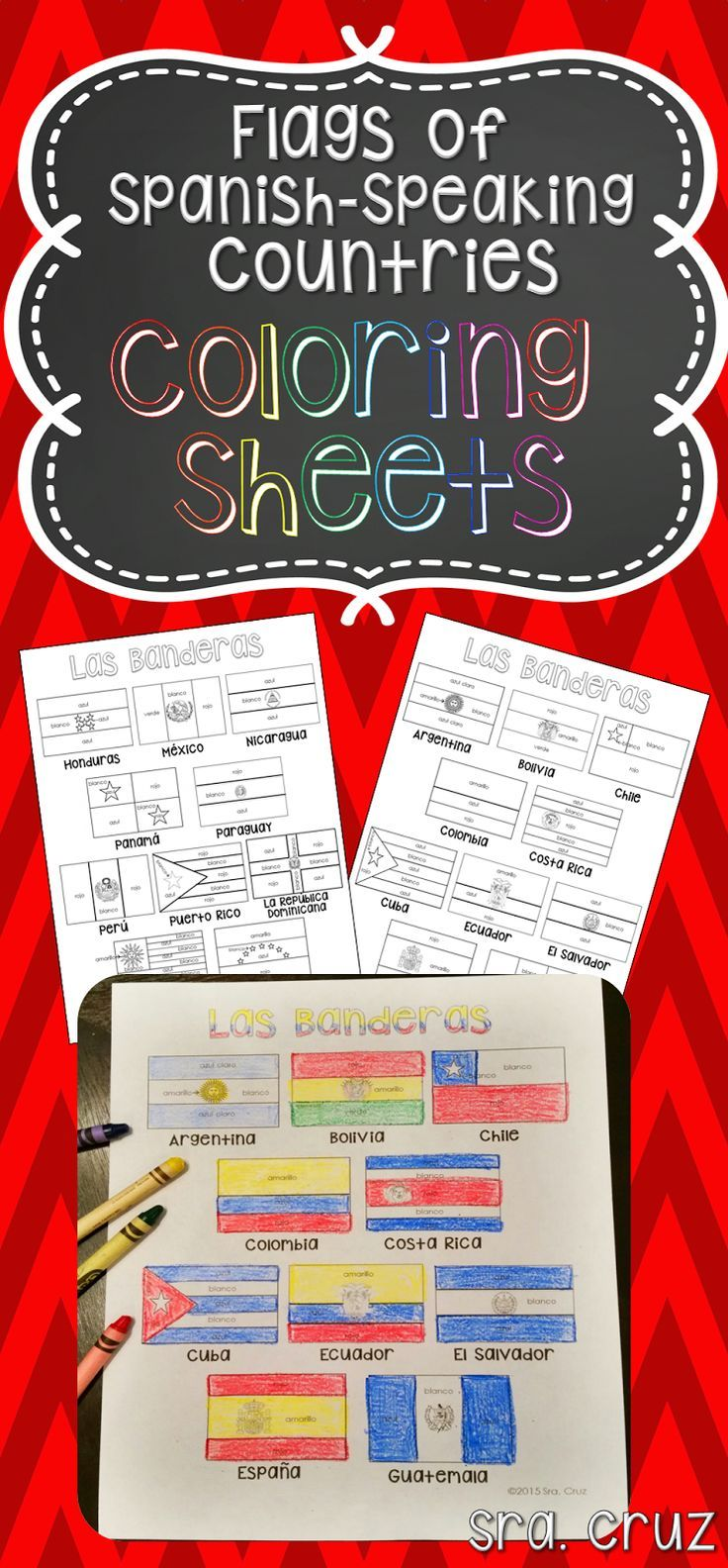 Spanish colors for preschool - Flags Of Spanish Speaking Countries Coloring Sheets