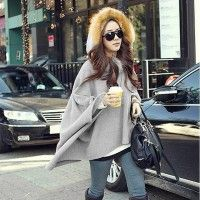 This is one of many poncho's etc. they have, so many cozy styles! Korean Style False shawl Batwing Long Sleeve Coat Hooded woolen Coat Outwear New Arrival
