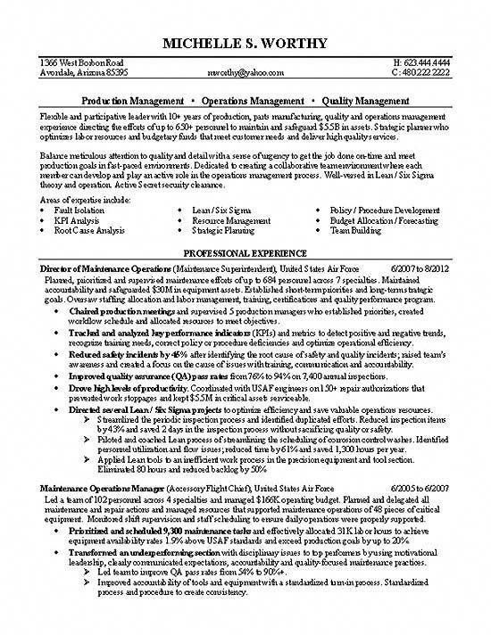 This Is A Resume Example For An Operations Manager And Quality Transitioning From Positions In The Air Force Useful