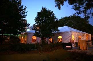 Chicago wedding tent at night