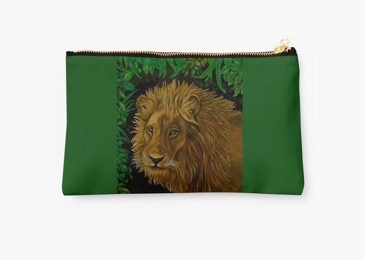 Studio Pouch,  cool,beautiful,fancy,unique,trendy,artistic,awesome,fahionable,unusual,accessories,for sale,design,items,products,gifts,presents,ideas,carry all pouch,green,lion,redbubble