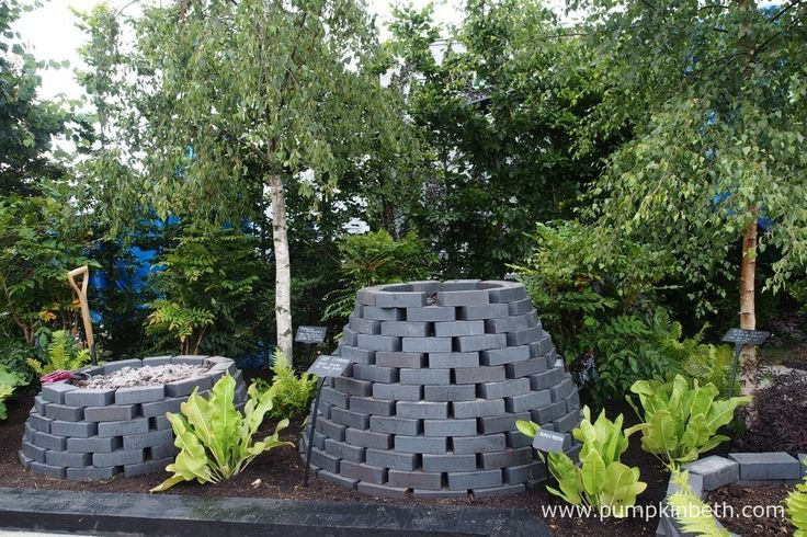 The brick composters in the RHS Kitchen Garden at the RHS Hampton Court Palace Flower Show 2017.