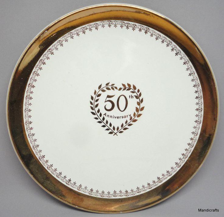 Royal Winton Grimwades Dinner #Plate 1960s Golden 50th Wedding #Anniversary 9.75in #RoyalWintonGrimwades Classic