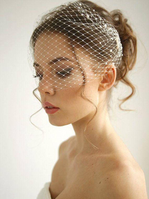 Pearl bandeau birdcage wedding veil, pearl wedding veil, russian netting birdcage, headband veil, Emma - Style V02