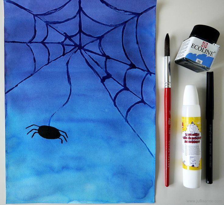 Thema herfst knutselopdracht: een spinnenweb van lijm en ecoline. Leuke opdracht voor de middenbouw! / Fall theme art project: schoolglue spiderwebs. Nice activity to do in middle school!