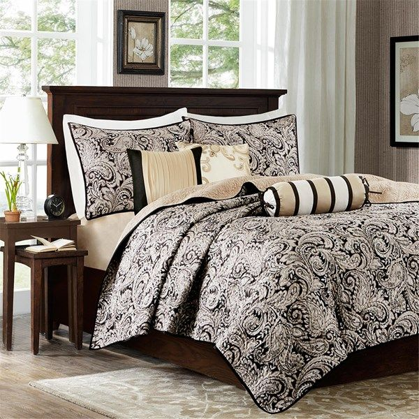 Madison Park Women Aubrey 12 Piece Complete Bed Set Black Black