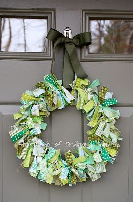 Rag/ribbon wreath. This one's meant for St. Patty's Day but other colors would work great for general seasons.