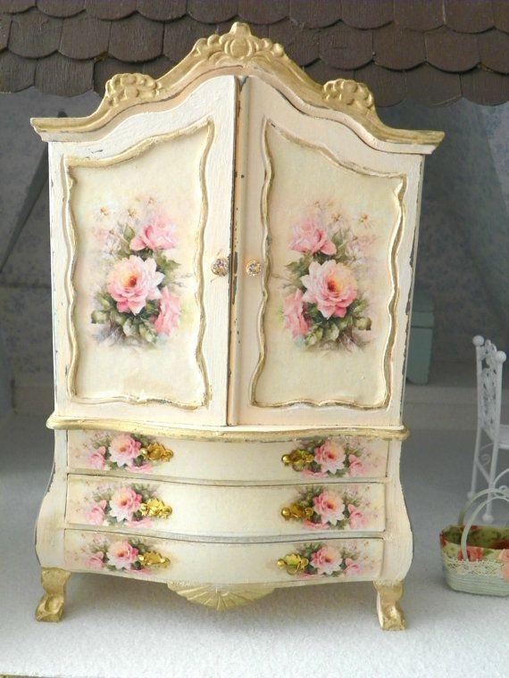 Dollhouse  miniature armoire 1/12 scale by Mondinadollhouse