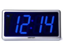 Ivation Big Time Digital LED Clock - Table or Wall Clock - Dimmable LED Display - Great for Elderly People, Offices, Conference Rooms, Lobbies and School Classrooms - Huge 12 Inch - Blue