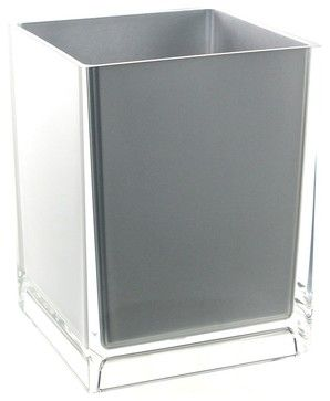 Free Standing Waste Basket With No Cover, Silver contemporary-waste-baskets