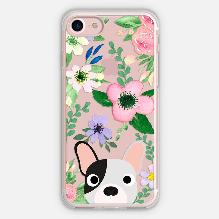 Frenchie (Black & White) Floral Phone Case